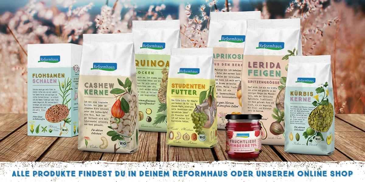 Unsere Produkte findest Du im Reformhaus und im Online-Shop